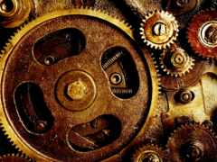 механизм, шестеренки, пружины