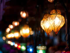 вечер, город, фонарик