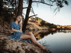 женщина, озеро, природа