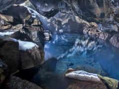 пещера, iceland, blue