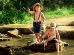 река, ребенок, fish