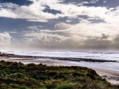 море, пляж, oblaka