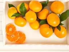 плод, tangerine, листва