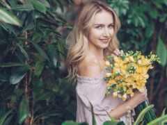 цветы, женщина, blonde
