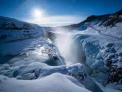 winter, водопад, iceland