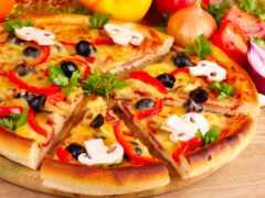 пицца, постная, еда