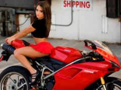 мотоцикл, девушка, ducatus
