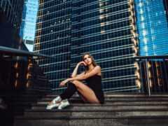 девушка, лестница, sit