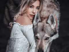 волк, девушка, loups