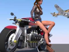 девушка, мотоцикл, rendering
