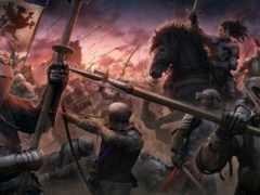 битва, medieval, закат