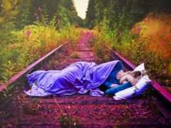 девушка, спит, дороги