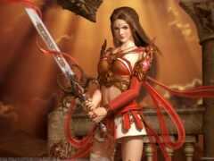девушка, меч, воин