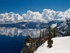 ozero, gora, priroda