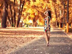 девушка, осень, park