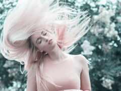 розовый, девушка, волосы
