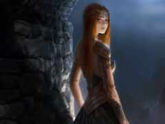 стена, женщина, redhead