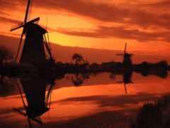 mill, закат, фон