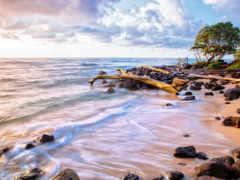 playa, arena, piedras