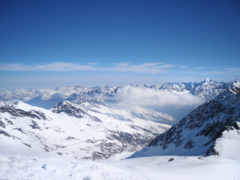 горы, снег, тучи