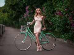 велосипед, девушка, платье