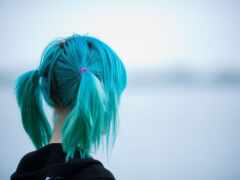 волосы, blue, color