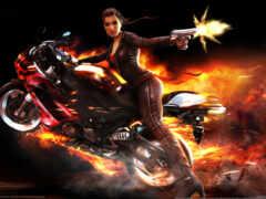 мотоцикл, девушка, game