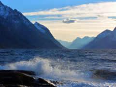 горы, море, waves