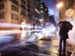 мужчина, зонтик, город
