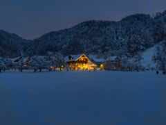 ночь, house, winter