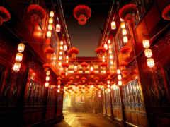 улица, china, красное
