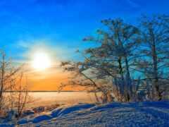winter, sun, снег