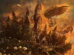 fantasy, дома, steampunk