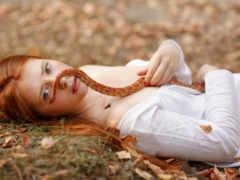 девушка, redhead, snake