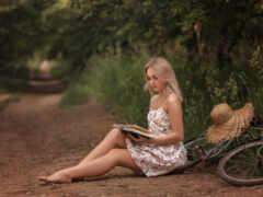 девушка, фотограф, barefoot