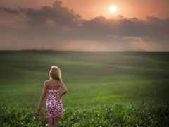 девушка, поле, раздолье