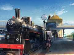 anime, поезд, steam