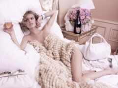 девушка, постели, красивая