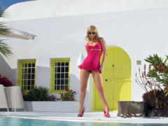 blonde, платье, ноги