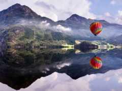 air, шар, горы