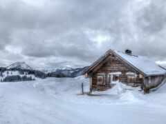 коттедж, winter, снег