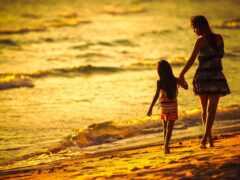 пляж, mom, дочь