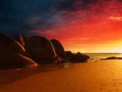 закат, песок, пляж