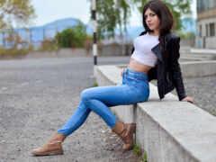 джинсы, девушка, midriff