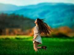 девушка, бежит, картинка