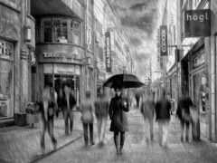 дождь, аллея, зонтик