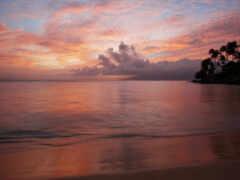 закат, пляж, рассвет