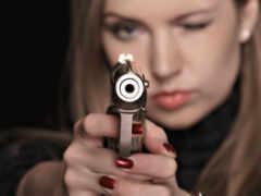 девушка, женщина, пистолет