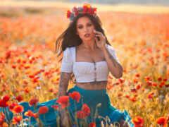 анна, девушка, поле