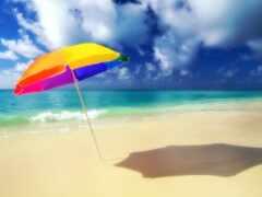 зонтик, пляжный, пляж